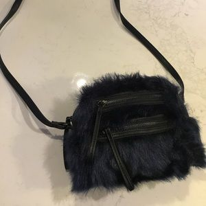 ASOS navy faux fur mini bag